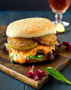 The Southern Burger: a burger topped with pimento cheese and fried green tomatoes.