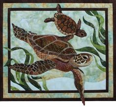 Toni Whitney Design Sea Turtles Applique Quilt Kit with Pattern Sea Turtle Quilts, Wildlife Quilts, Ocean Quilt, Beach Quilt, Applique Quilt Patterns, Applique Ideas, Hawaiian Quilts, Tropical Quilts, Coastal Quilts