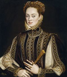 Alonso Sánchez Coello: A lady with a fan. 1570-1573. Madrid, Museo del Prado. source.