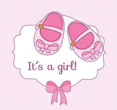 Pink baby shoes infant welcome party poster vector graphics