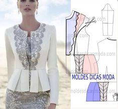 Transformação do molde de blusa peplum. Para fazer este modelo de blusa imprima o molde base de blusa e faça a gradação para o seu tamanho.: