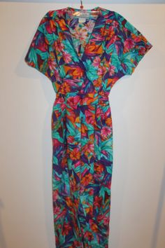 Vintage 1980s Tropical Floral Jumpsuit  By by LuLusVintageMart, $22.00