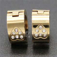 Wholesale Brand New Design Women Girl Stainless Steel Gold Plated Heart Rhinestone Huggie Hoop Earrings