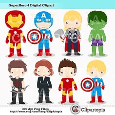 Superhero 4 Digital Clipart /Cute Superheroes by ClipArtopia, $5.00