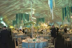 Ravinia Gala As the evening wore on, the tent's ceiling lit up with blue lights in swirled patterns.