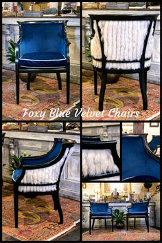 Foxy Blue Velvet Chairs