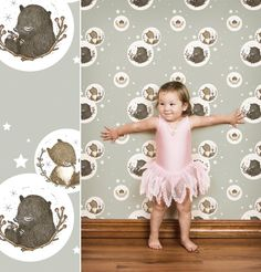 Bear and Squirrel wallpaper by Muffin & Mani