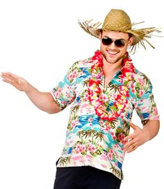 2 PIECE HAWAIIAN CAPTAIN COSTUME SHIRT AND HAT SUMMER TROPICAL FANCY DRESS PARTY
