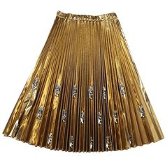 Embellished Pleated Gold Technofabric Skirt (13.445 ARS) ❤ liked on Polyvore featuring skirts, metallic, womenclothingskirts, brown skirt, gold skirt, metallic skirt, embellished skirt and knee length pleated skirt