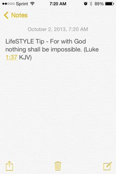 LifeSTYLE Tip - For with God nothing shall be impossible. (Luke 1:37 KJV) #KeystoSuccess
