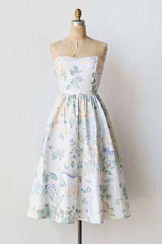vintage 1980s soft pastel floral dress