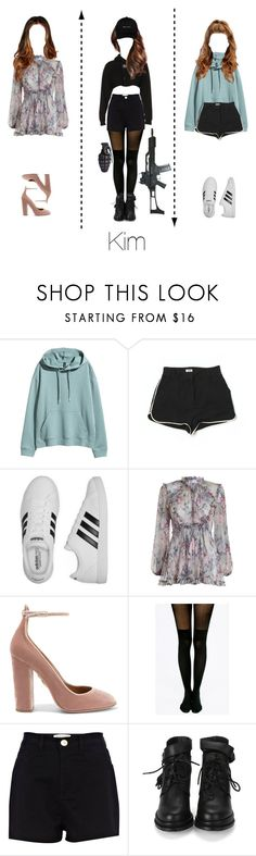 """""""Beautiful_Boom - Do not be like that \\\ Kim outfit \\\"""" by vieen ❤ liked on Polyvore featuring L'Agence, adidas, Zimmermann, Aquazzura, Pretty Polly, River Island and RtA"""