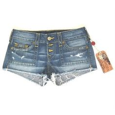 Pre-owned True Religion Jeans Shorts Faye Gold Fashion In Nebraska ($105) ❤ liked on Polyvore featuring shorts, blues, true religion, dark denim shorts, blue shorts, frayed cut off shorts and gold shorts