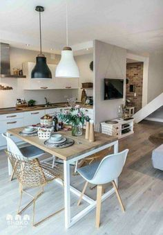 decordemon: Cozy house in Poland by architecture studio Shoko design - Interior Ideas Home Interior, Kitchen Interior, Kitchen Decor, Interior Design, Kitchen Layout, Apartment Kitchen, Deco Design, Küchen Design, Design Ideas