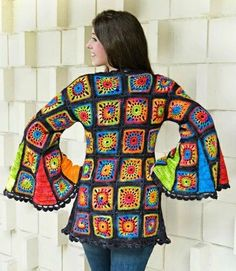 Crochet Granny Square Design Granny Takes A Trip/ Crochet Pattern from Ellene Warren, Earthfaire - This one just makes me smile! Here's what Ellene writes: Granny Squares are still a favorite of the Flower Children, but this Granny Square Coat takes a . Crochet Diy, Diy Crochet Granny Square, Point Granny Au Crochet, Beau Crochet, Crochet Woman, Granny Square Sweater, Hippie Crochet, Crochet Squares, Crochet Jacket
