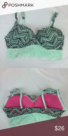 VS PINK mint blue/black lace Bralette (Small) ✨ very cute and perfect for summer ☀️ PINK Victoria's Secret Intimates & Sleepwear Bras