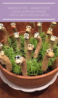 handmade funny worms for my potted plants or the garden - Garden pottery, Potte. - handmade funny worms for my potted plants or the garden – Garden pottery, Pottery animals, Clay - Clay Projects, Clay Crafts, Diy And Crafts, Simple Crafts, Recycled Crafts, Felt Crafts, Ceramic Pottery, Ceramic Art, Pottery Animals