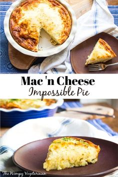 Kid-friendly Mac 'n Cheese Impossible Pie that forms its own crust as it bakes, and divides into a creamy quiche top and Mac 'n Cheese bottom. #ImpossiblePie #ImpossiblePieRecipes #ImpossiblePieRecipeWithBisquick #ImpossiblePieDinner #MacAndCheeseRecipe Vegetarian Comfort Food, Vegetarian Bake, Vegetarian Main Dishes, Best Vegetarian Recipes, Vegetarian Appetizers, Vegan Meals, Comfort Foods, Cheese Recipes, Pie Recipes