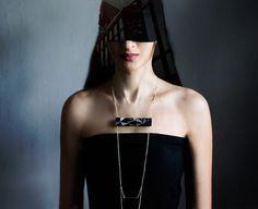 Geometric Wooden chain necklace black by AbraKadabraJewelry, urban style jewelry