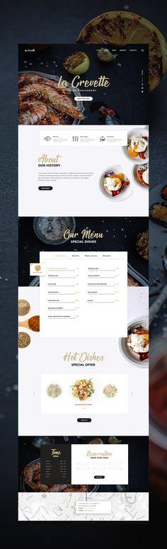 Website design «Fish restaurant landing page Restaurant Website, Restaurant Design, Web Layout, Layout Design, Maquette Site Web, Creative Web Design, Web Design Inspiration, Design Ideas, Easy Paper Crafts