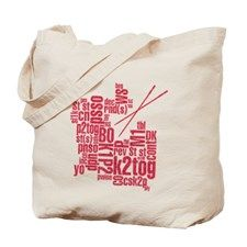 Knitting Abbreviation Cloud Tote Bag for