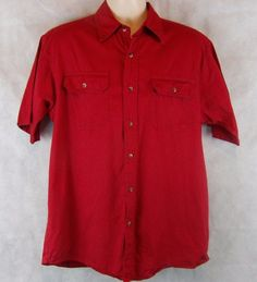 Wrangler Men's Short Sleeve Button-Down Shirt Size M 100% Cotton Color Red #Wrangler #ButtonFront