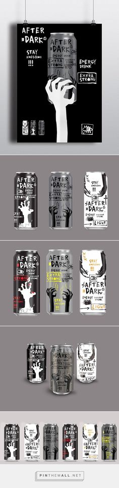 After Dark energy drink (student work) designed by Ana Pesic. Pin curated by #SFields99 #packaging #design: