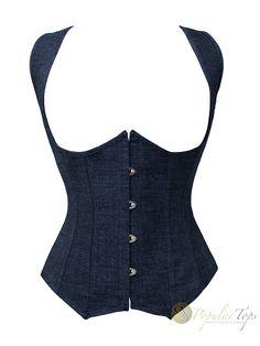 Blue Denim Underbust Boned Fashion Lace-Corset w/ Shoulder Straps- Front
