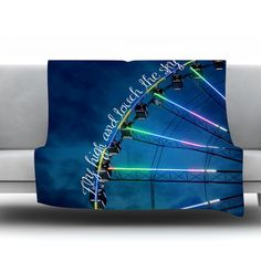 """East Urban Home Fly High And Touch The Sky by Beth Engel Fleece Throw Blanket Size: 80"""" L x 60"""" W"""
