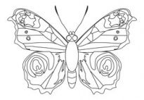 Butterfly Coloring Template for preschool and kindergarten kids. From www.kigaportal.com