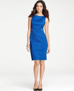 Ann Taylor Blue Petite Zip Pocket Cotton Sheath Dress