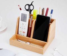 Wooden Desk Organizer Pen Pencil Holder Business Name Cards Remote Control Holder