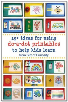 Are you ever stumped about how to use do-a-dot printables with your kids? If so, check out these 15 creative ideas for using do-a-dot printables to help kids from toddlers to elementary age learn a variety of skills. #DoADot #handsonlearning || Gift of Curiosity