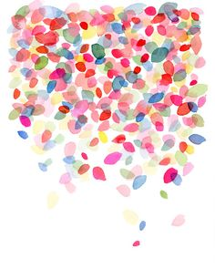 Watercolor Colorful Dots Falling Art Print