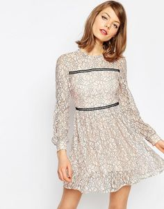 ASOS | ASOS Mini Lace Skater Dress With Ladder Trim at ASOS