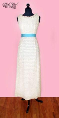 1960's Long White Ruffles Party or Wedding Dress