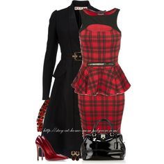 """""""Tartan Peplum & Skirt"""" by stay-at-home-mom on Polyvore"""