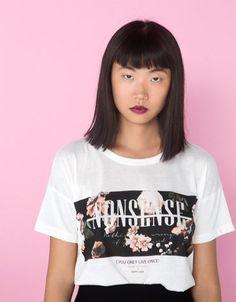 Bershka United Kingdom - Bershka flowers and text T-shirt