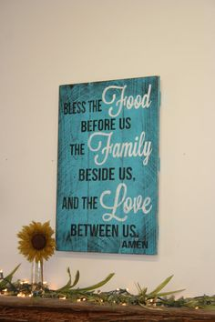 Bless The Food Before Us Kitchen Sign Pallet Sign Distressed Wood Sign Wood Wall Art Turquoise Decor Housewarming Gift Wedding Gift Bridal