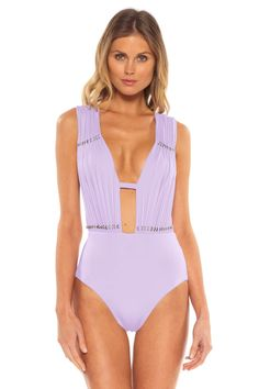 69f592506f5 Becca by Rebecca Virtue's Reconnect Pleated Plunge One Piece Swimsuit  Bodysuit, One Piece, Swimwear