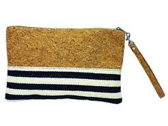 Beautiful eco-friendly cork and canvas clutch with navy blue and white stripes…