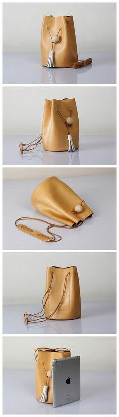 Genuine Leather Bucket Bag Shoulder Bag Beige for Women Crossbody Bag 14126