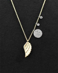 Meira t 14k yellow gold and diamond dog bone pendant necklace at diamond necklace aloadofball Gallery
