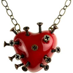 Red Steampunk Broken Heart Necklace With Screws (goth, jewellery,... ($37) ❤ liked on Polyvore featuring jewelry, necklaces, accessories, red, hearts, long heart necklace, heart chain necklace, long red necklace, pendants & necklaces and red heart pendant
