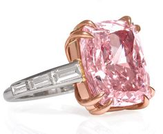 "According to @JCK Magazine, the majestic pink is: ""…one of only a handful of that type of pink diamond known to exist in the world—and is set in 18k rose gold and platinum. A Type IIa designation means that the diamond lacks any trace of nitrogen, which can give a diamond a yellow tint, giving the stone greater optical transparency."""