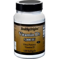 Healthy Origins Vitamin D3 - 5000 IU - 120 Softgels - Healthy Origins Vitamin D3 Description:    Economy Size  High Potency  Healthy Origins Vitamin D3 1200 IU is key nutrient manufactured in a highly absorbable liquid softgel form. Vitamin D3 is synthesized in the body from sunlight and only a small amount can be obtained from food. The winter season and most all sunblock products inhibit the bodys ability to produce optimal levels of Vitamin D. As a result Vitamin D3 supplementation…