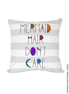 """Use coupon code """"pinterest"""" Mermaid Hair Don't Care Pillow Cover - Natural Canvas Cotton Pillow Cover - Houseware - Decorative Pillow Cover - Beach House Vacation Home by DentzDenim"""