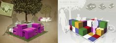 """Athens Square"" & ""Rubik's Bench"" entries at the Athens BenchMark Contest"