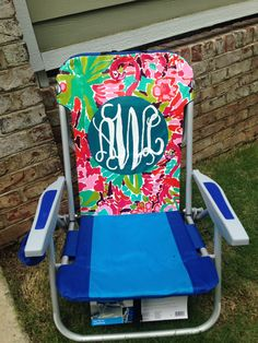 Hand Painted Lilly Pulitzer Inspired Beach Chair.