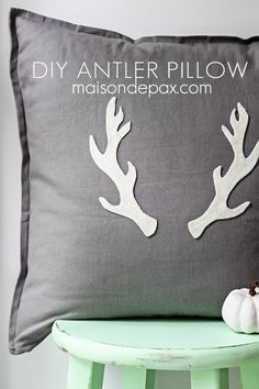 simple tutorial for this adorable fall or winter diy antler pillow - SO easy! | maisondepax.com